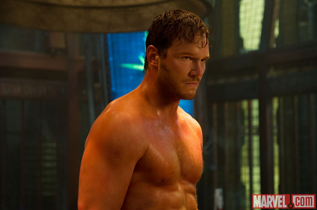 A shot for the ladies, leading man Chris Pratt goes shirtless, we wonder where they hid the mic in this scene? (image: Marvel).