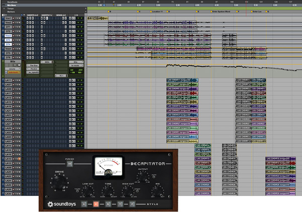 """Vocals  Nicholai Baxter: """"In this section you can see the lead vocals at the top, entering throughout the song, and the stacks of backing vocals below. Almost all tracks in every session have the Slate Virtual Console inserted, which I use to give every track some character to start out with. Insert '7' is a UAD 1176, which is the best-sounding 1176 modelling plug-in I've heard. Insert 'P' is a Fabfilter Pro-Q2, which is a great and versatile EQ.  """"I had trouble using a de-esser on Rufus' vocal and ended up using clip gain automation to take out the esses. It sounded more natural, so I did the same thing on the other vocals. Insert 'M' is the Massey de-esser, which I tried and then turned down. 'D' is for Decapitator to add some fatness, grit and character to the vocals. The sends are going to delays and reverbs. I used Echoboy delays, and an outboard TC 6000 for reverb. The BVs are all sent to a bus on which I have Cytomic's The Glue. It's usually a master bus compressor, but I'll use it on buses as well sometimes. Then there's the Pro-Q2 EQ and the Brainworks V2, which I use for width. It was a natural sounding way to spread the BVs around the lead vocals, which were more in the centre. MBSR is the Massey de-esser, and TC1 is a send to my outboard TC6000."""""""