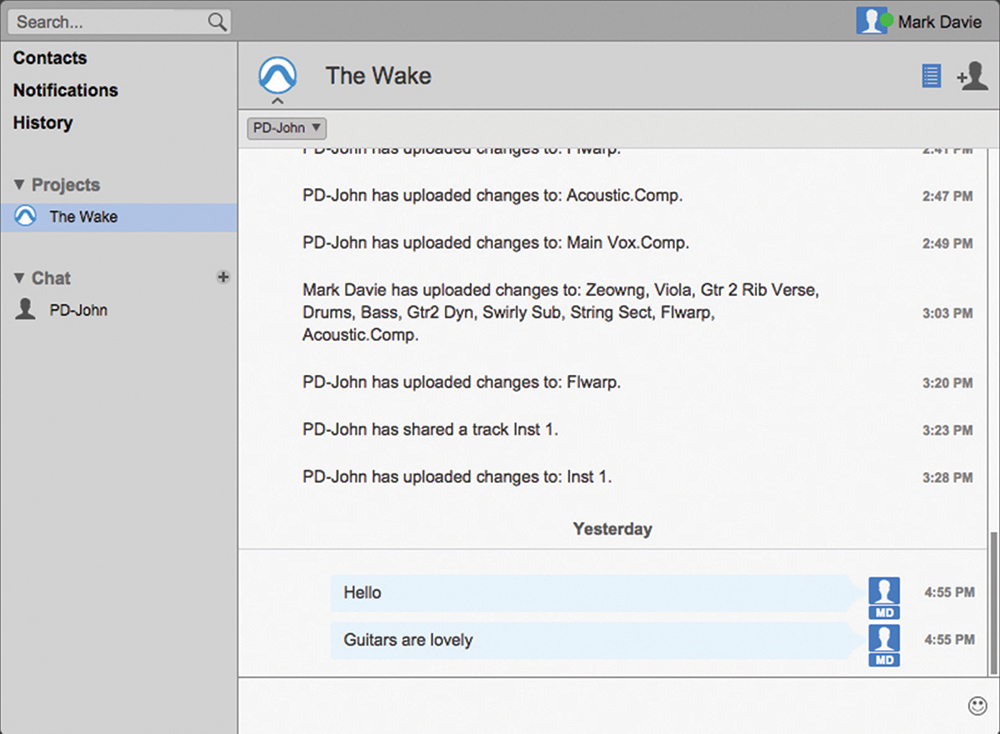 The chat window lets you invite collaborators, keep up to date with Project changes and search by keyword.