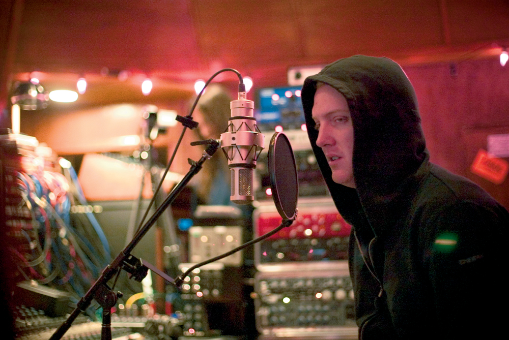 """QotSA frontman, Josh Homme, sneers into a Brauner VM1. Joe Barresi: """"I rented a Brauner VM1 and that worked really well on pristine vocals. It's a beautiful, very clear sounding mic."""""""