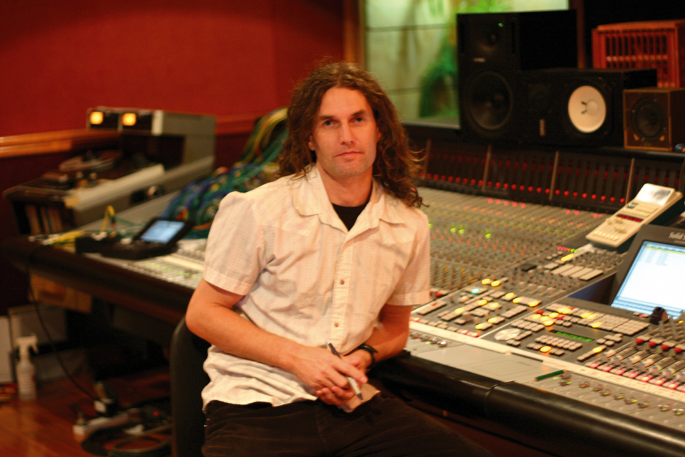 Andy at the helm of Sing Sing's SSL 9000K... looking a bit the worse for wear we reckon.
