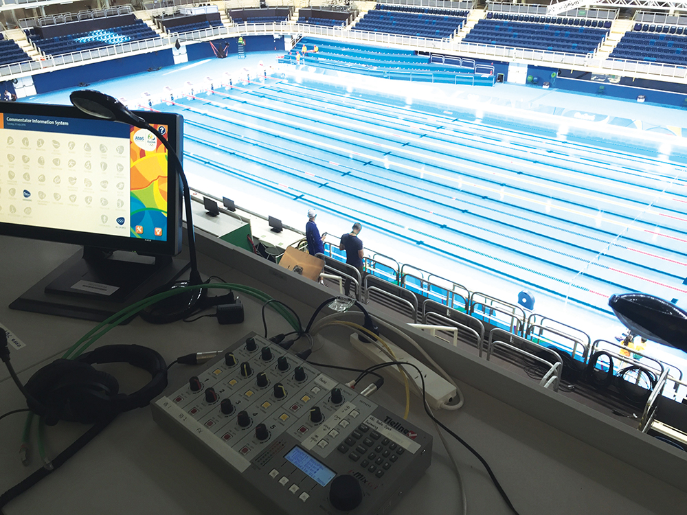 The broadcast position at the Olympic Aquatic Centre