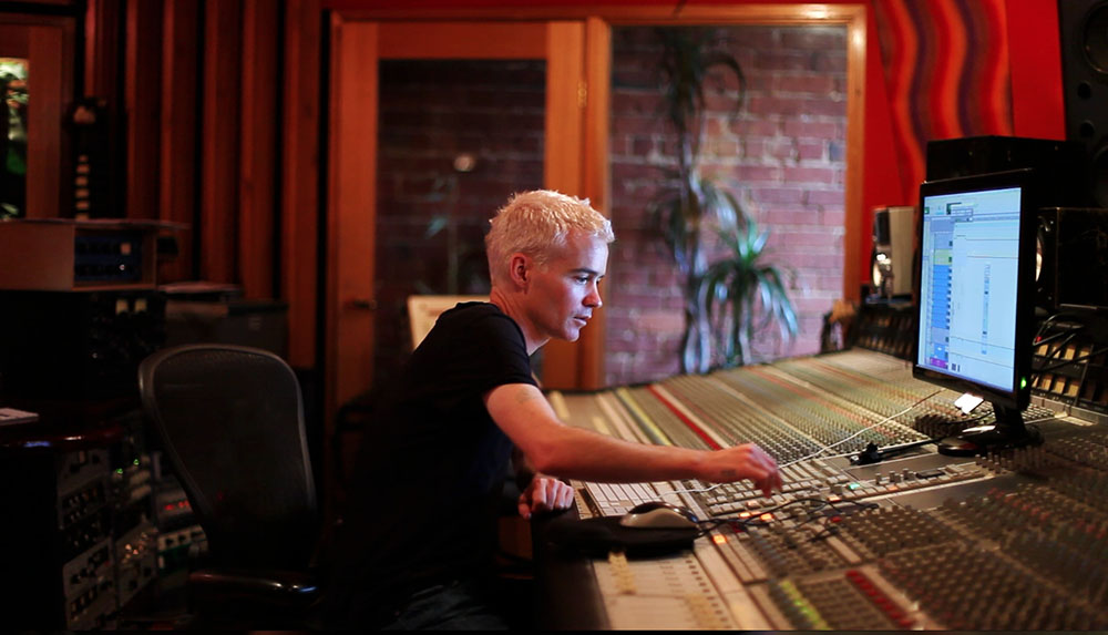 Robbie Chatter takes his turn on the SSL, switching between the main monitors, NS10s and his boombox.