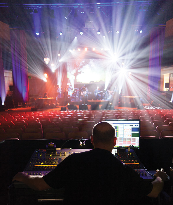 FOH engineer Tim Millikan at soundcheck in the Concourse Theatre, Chatswood.