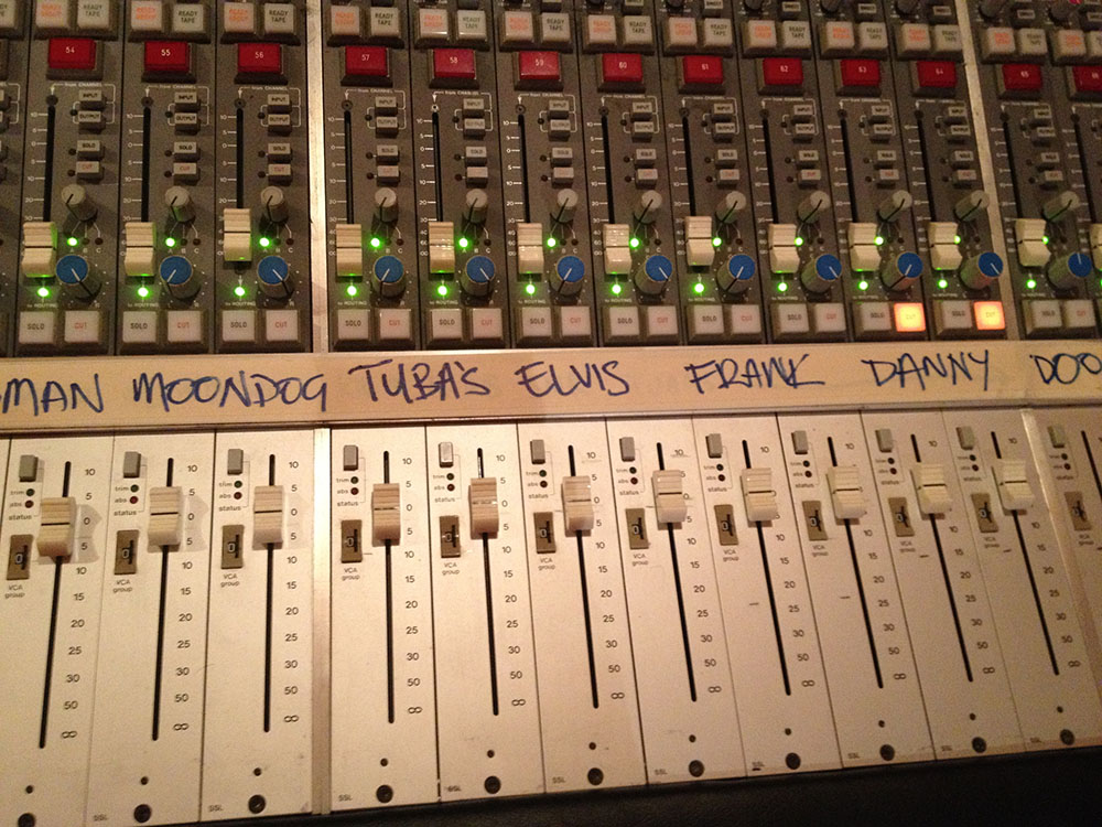 The mix for Frankie Sinatra spread out on the SSL.