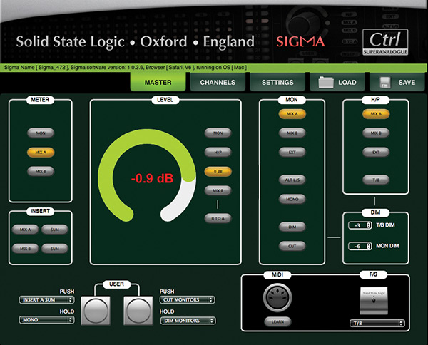 The Master page takes care of metering assignment, mix bus insert selection, monitor and headphone routing as well as setups for Dim, MIDI learn and the user assignable button settings.
