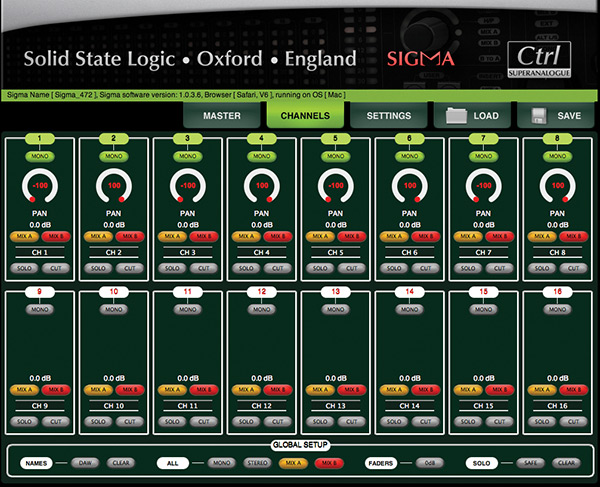 The Channel page takes care of mix routing, stereo/mono switching, and solo, cut and panning for each individual channel, while a row of global commands down the bottom of the page allows for quick resetting of all 16 channels' parameters.