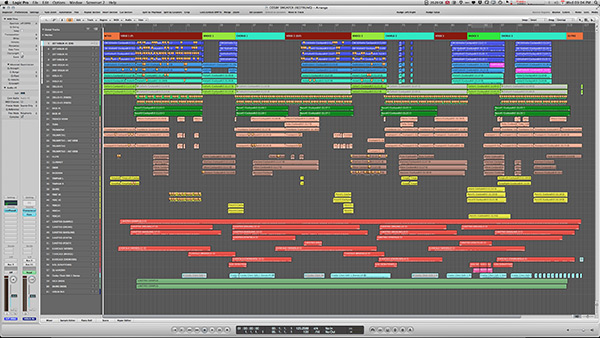 The session for Cosby Sweater: Restrung shows the number of orchestral tracks Debris had to try and fit into his mix.