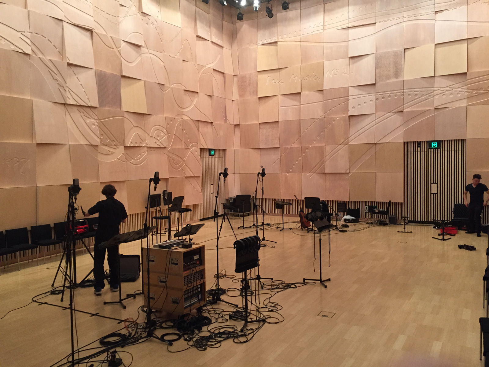 """Recording the children's choir in the Melbourne Recital Centre's Salon. Craig Pilkington set it up with a spaced out series of directional mics picking up the different choir sections, then staggered two stages of room mics placed at different distances from the choir to capture the ambience. """"Then it was a matter of keeping everyone else really quiet,"""" said Pilkington."""