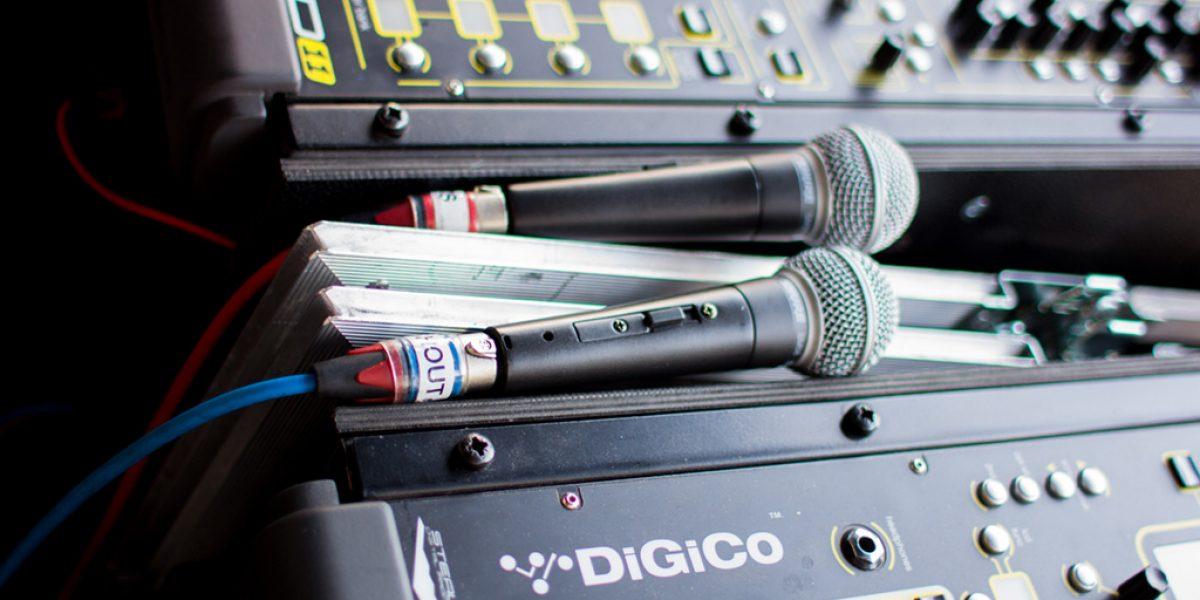 Adam's pair of Digico SD11i consoles are mirrored so if one falls over, the show doesn't stop.