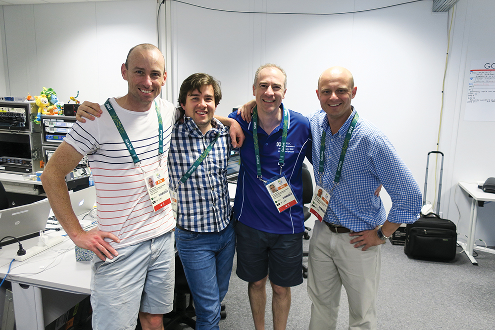 The team on the ground in the IBC — (left to right) Alister Nicholson, Joshua Craig, Gerard Whateley, Quentin Hull