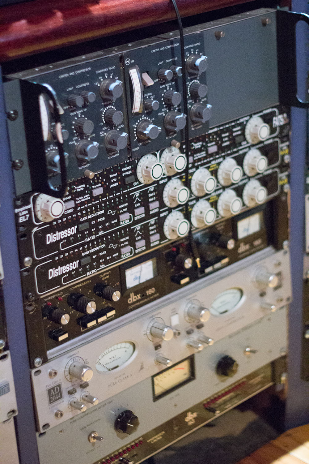 Some of the outboard gear in Sing Sing's SSL room that Espie used to bring Wildflower's thousands of elements together.