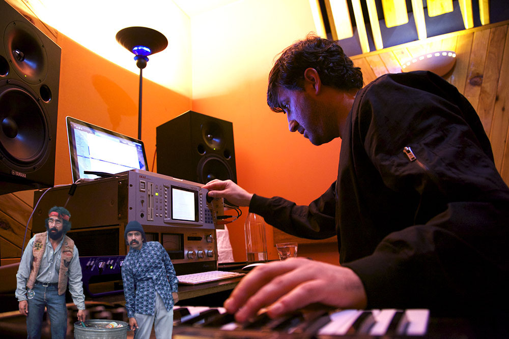 Tony De Silva working on Wildflower with a couple of stalwart pieces of gear — a laptop and an Akai S5000 sampler.
