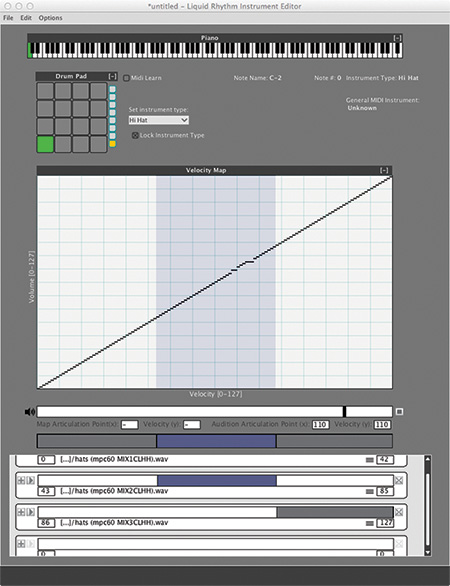 The Instrument Editor allows you to create velocity-switched, multi-sampled instruments.
