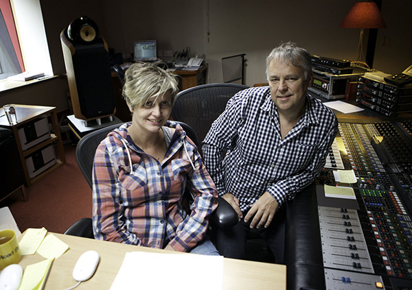 Kirsty Whalley and Peter Cobbin at the Penthouse mix suite in Abbey Road.