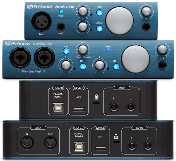 AudioBox iOne & iTwo, front & rear