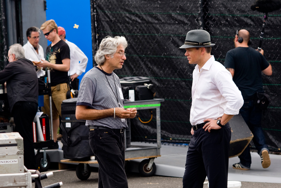 Danny Michael speaking to Matt Damon, on the set of The Adjustment Bureau (image: courtesy of Universal Pictures)