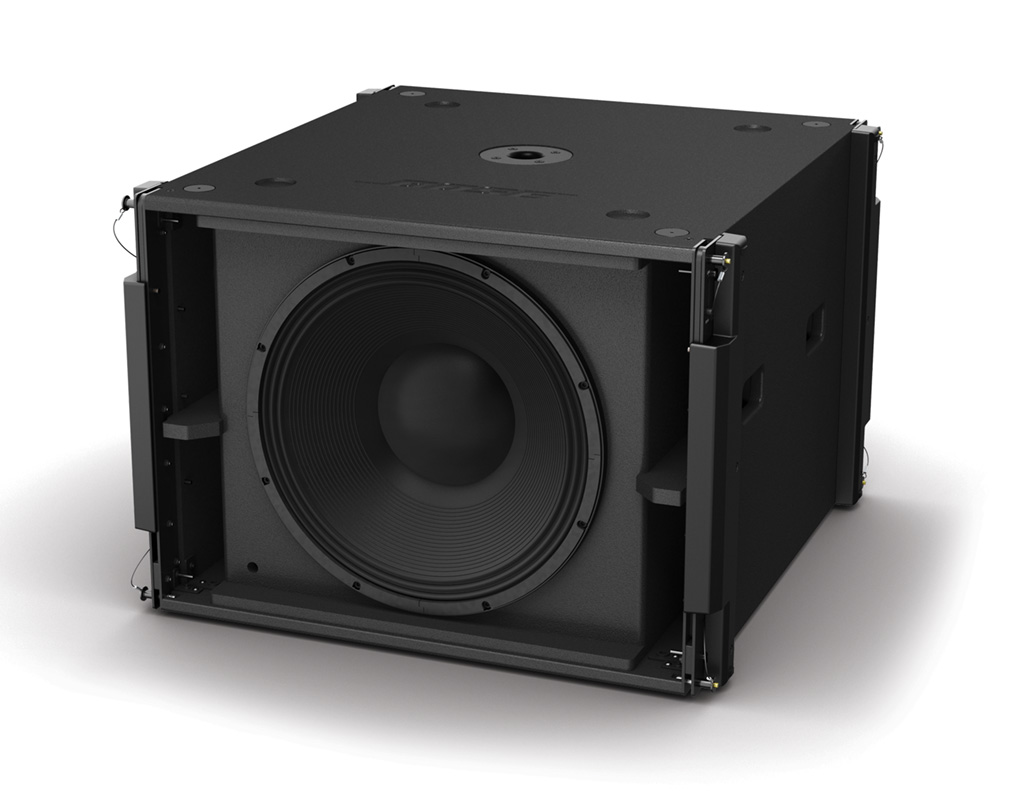 The Bose SMS118 ShowMatch sub. The sub can be flown or stacked and features a front-mounted NL4 connector for easy wiring of cardioid configurations.
