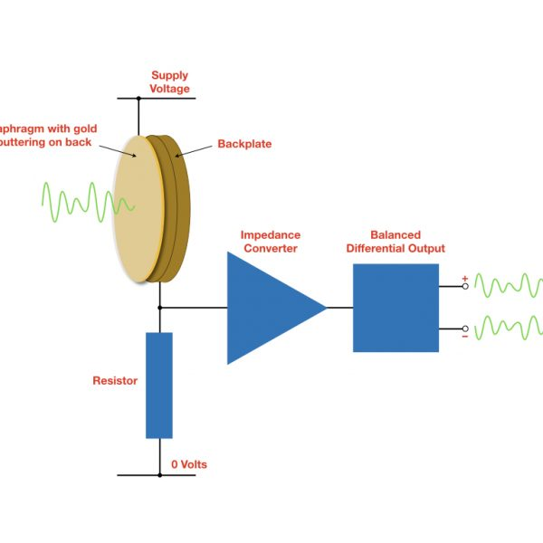 Conceptual diagram of a condenser microphone, including diaphragm/capsule, impedance converter and balanced differential output circuit.